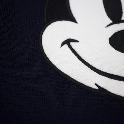 Lacoste Men's Crew Neck Disney Mickey Embroidery Interlock Sweater Navy Blue Close Up
