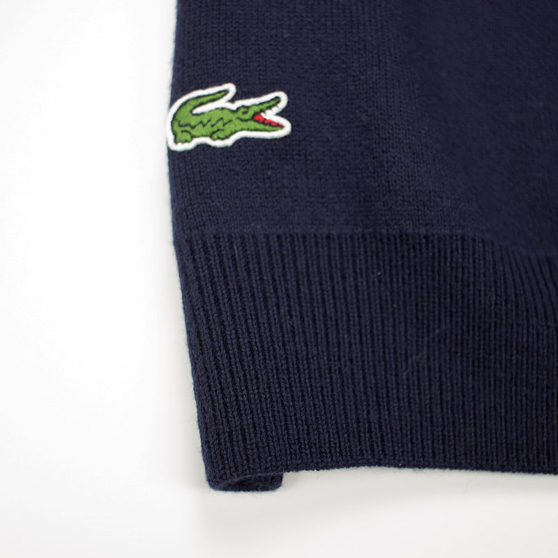 Lacoste Men's Crew Neck Disney Mickey Embroidery Interlock Sweater Navy Blue Gator