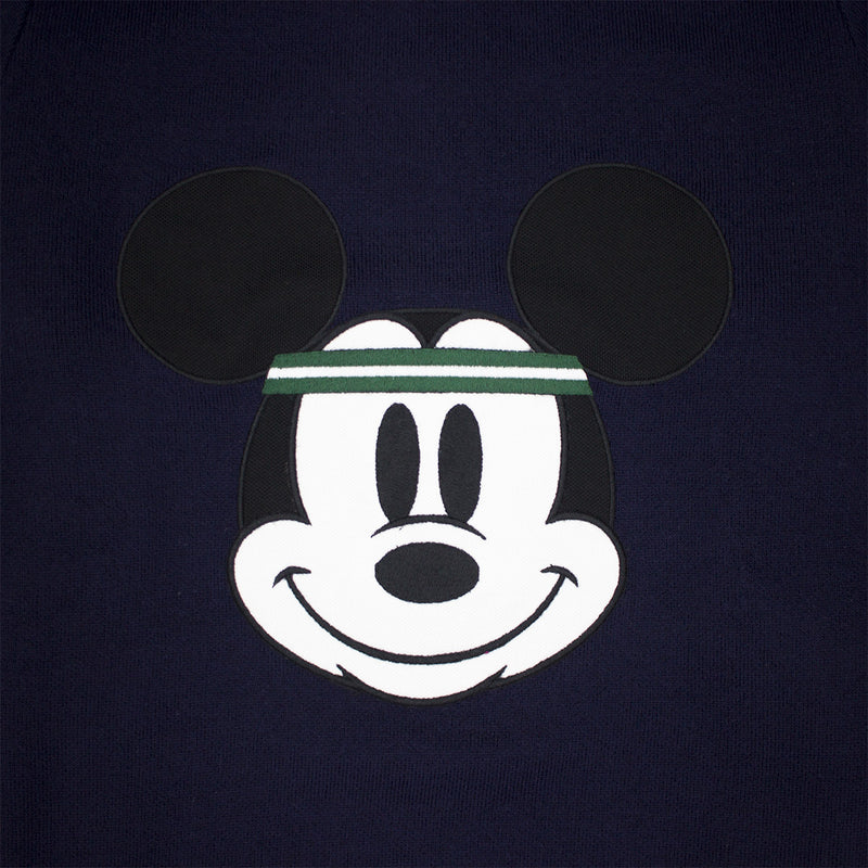 Lacoste Men's Crew Neck Disney Mickey Embroidery Interlock Sweater Navy Blue Mickey's Face