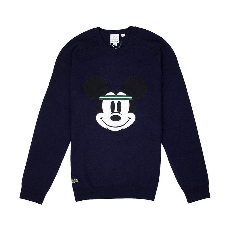 Lacoste Men's Crew Neck Disney Mickey Embroidery Interlock Sweater Navy Blue