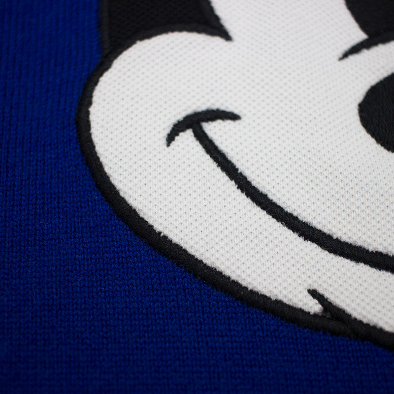 Lacoste Men's Crew Neck Disney Mickey Embroidery Interlock Sweater Steamer Steamer Blue Close Up