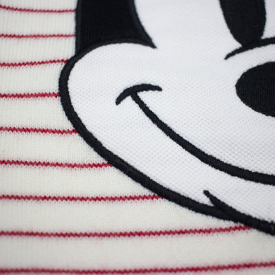 Lacoste Men's Crew Neck Disney Mickey Embroidery Interlock Sweater White / Lighthouse Red Close Up