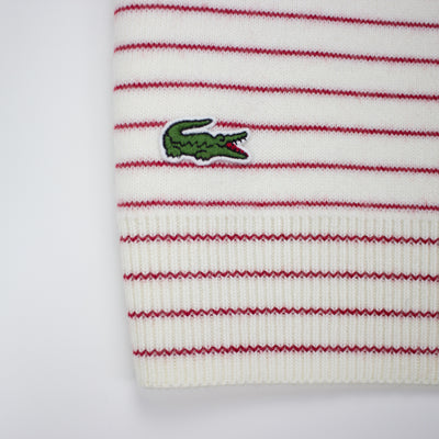 Lacoste Men's Crew Neck Disney Mickey Embroidery Interlock Sweater White / Lighthouse Red Gator