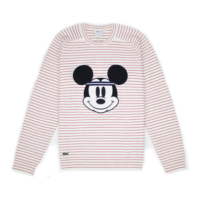 Lacoste Men's Crew Neck Disney Mickey Embroidery Interlock Sweater White / Lighthouse Red
