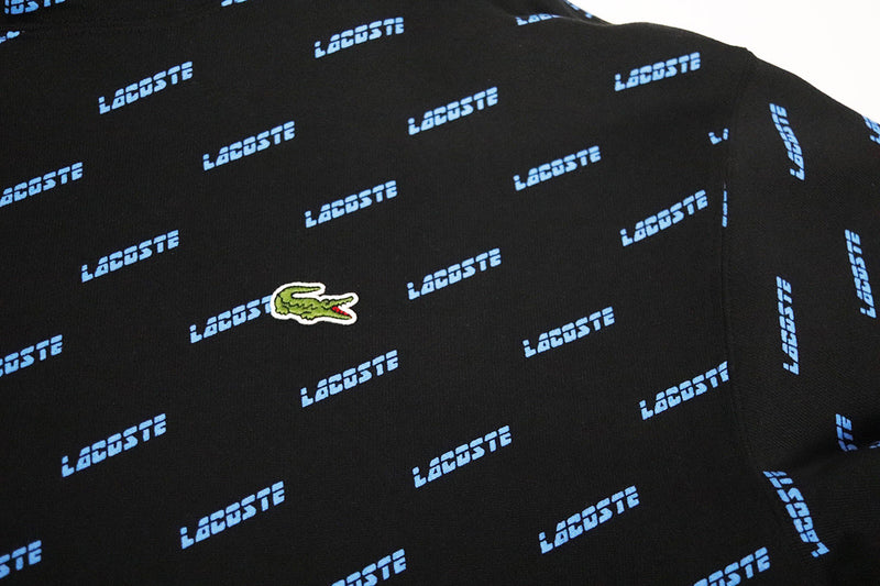 Lacoste Men's LIVE Hooded All Over Print Sweatshirt Black Gator
