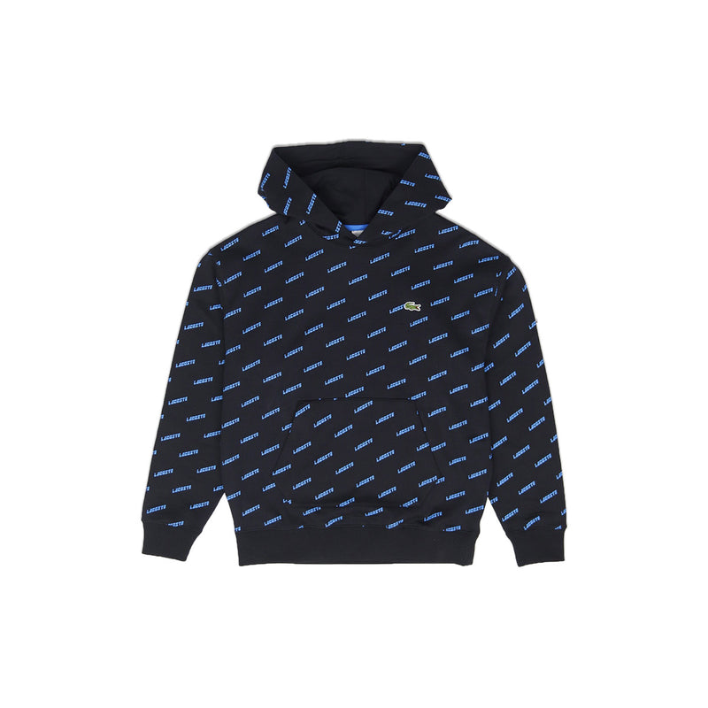 Lacoste Men's LIVE Hooded All Over Print Sweatshirt Black
