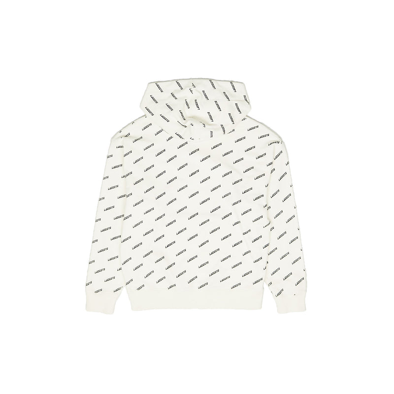 Lacoste Men's LIVE Hooded All Over Print Sweatshirt Cream Back