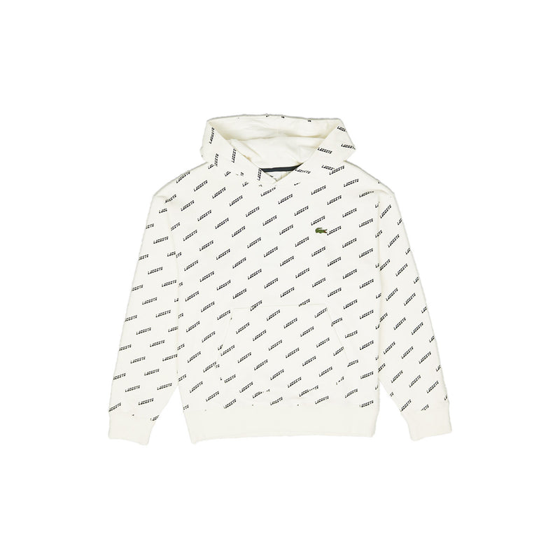 Lacoste Men's LIVE Hooded All Over Print Sweatshirt Cream