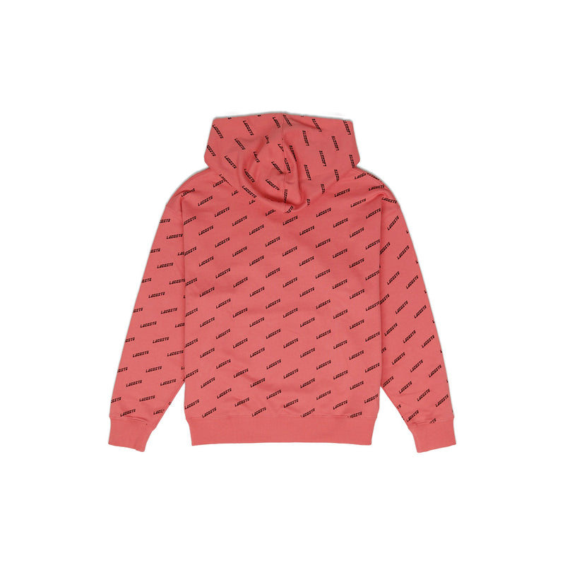 Lacoste Men's LIVE Hooded All Over Print Sweatshirt Earth Tone Pink Back