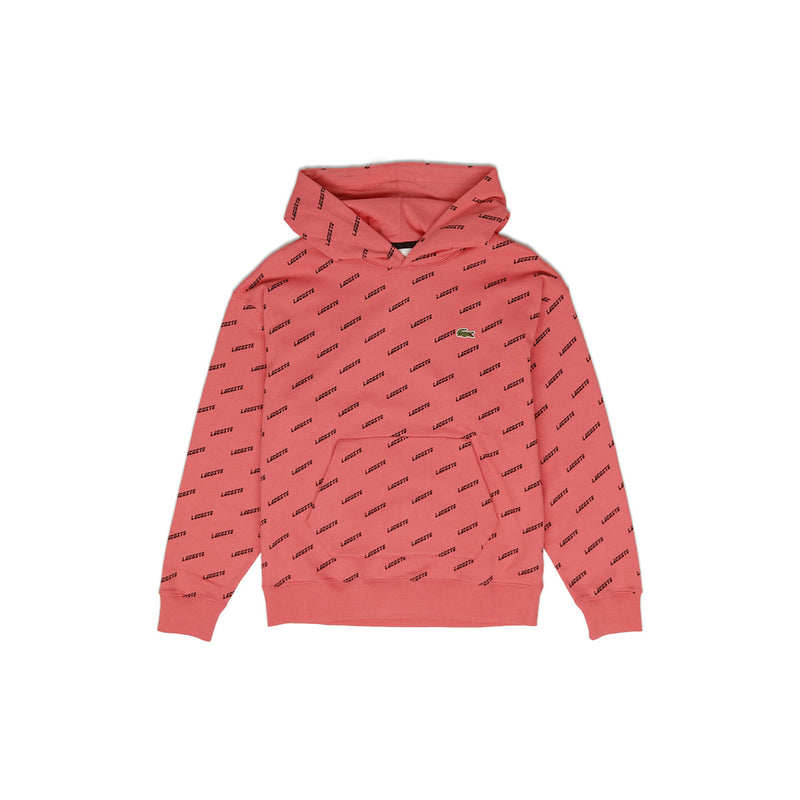 Lacoste Men's LIVE Hooded All Over Print Sweatshirt Earth Tone Pink