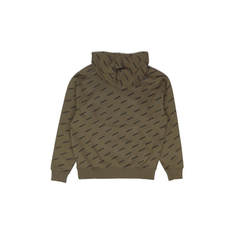 Lacoste Men's LIVE Hooded All Over Print Sweatshirt Khaki Green Back