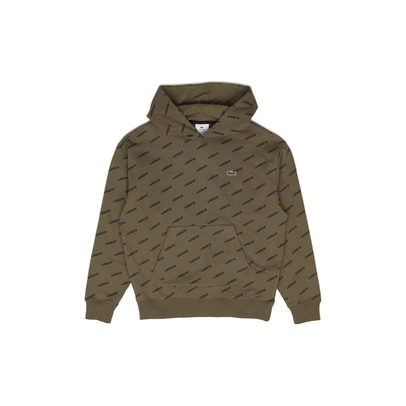Lacoste Men's LIVE Hooded All Over Print Sweatshirt Khaki Green