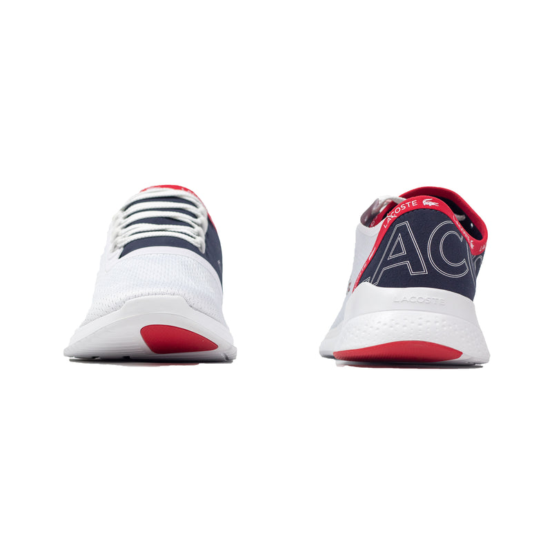 Lacoste Men's LT Fit Textile Sneakers White / Navy / Red Font & Back