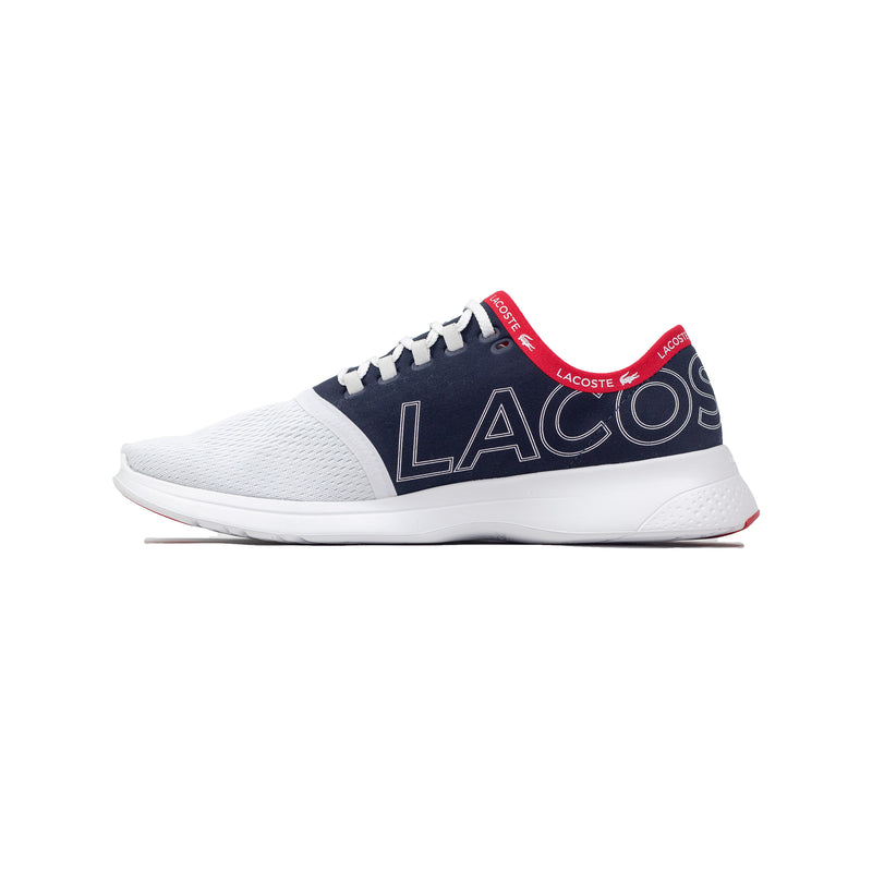 Lacoste Men's LT Fit Textile Sneakers White / Navy / Red Left