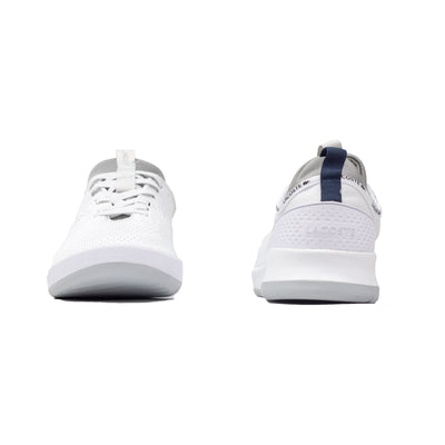 Lacoste Men's LT Spirit 2.0 Textile Trainers White / Grey Front & Back
