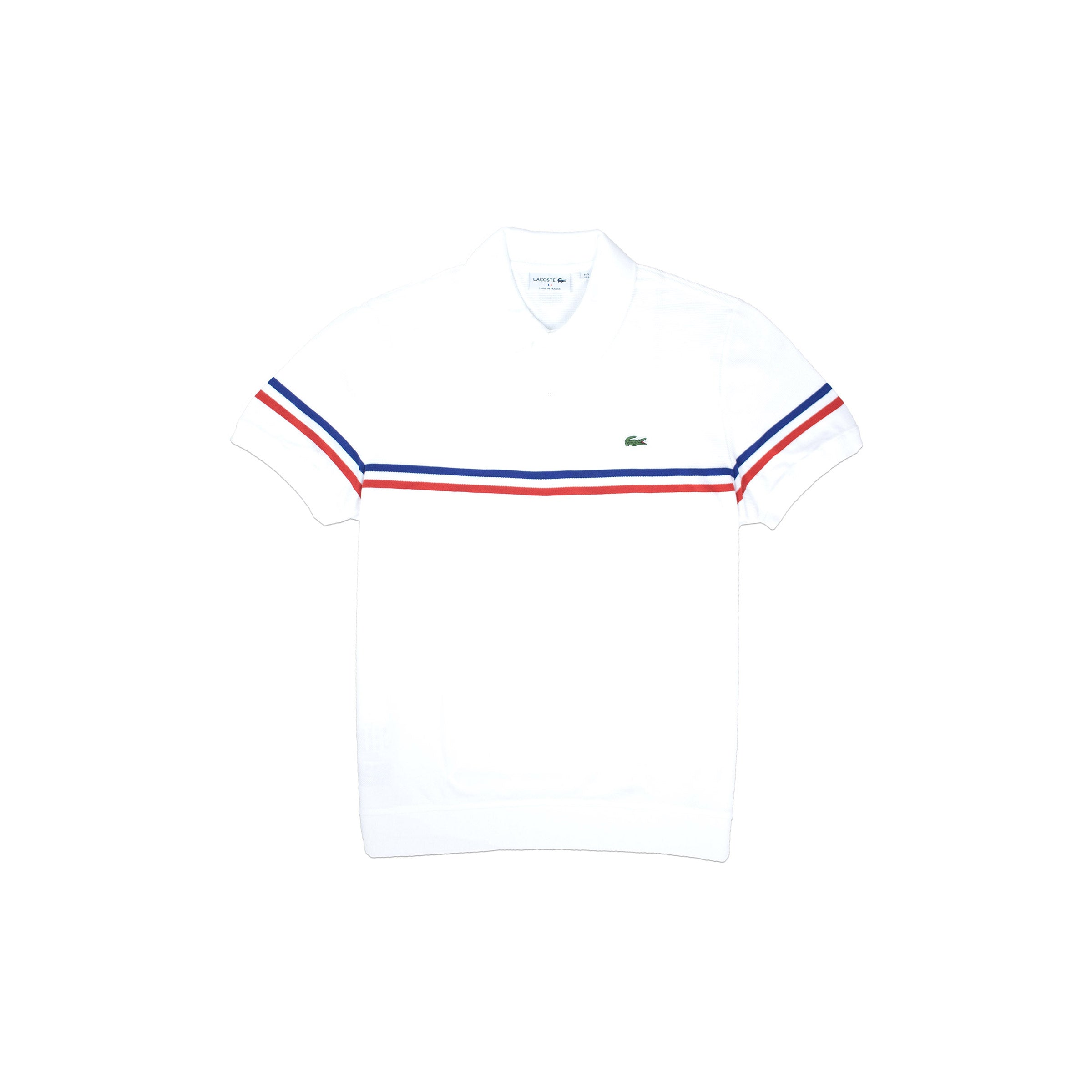 0268862d7be Lacoste Men s Made In France Pique Polo White Stripes. new