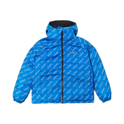 Lacoste Men's Print-Lined Reversible Quilted Jacket Black / Blue / White Back