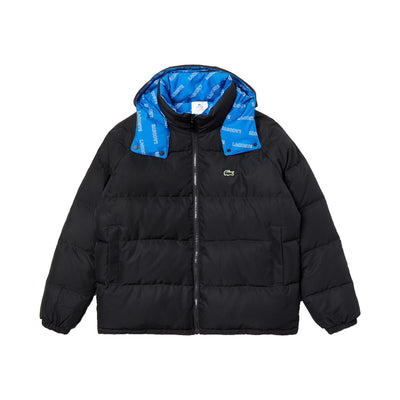 Lacoste Men's Print-Lined Reversible Quilted Jacket Black / Blue / White
