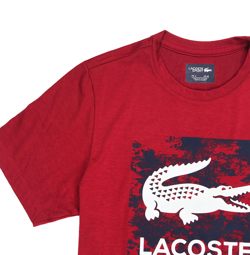 Lacoste Sport Oversized Croc Graphic T-Shirt Ladybug Red Artwork