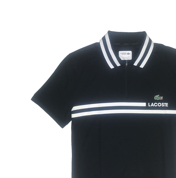 Lacoste Sport Contrast Band Tech Piqué Tennis Polo Black Artwork