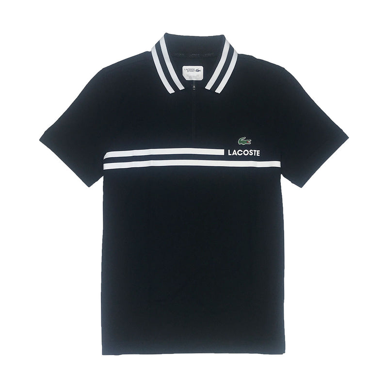 Lacoste Sport Contrast Band Tech Piqué Tennis Polo Black