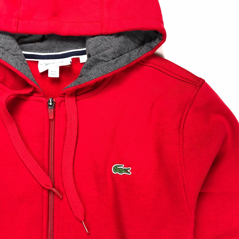 Lacoste Sport Hooded Fleece Tennis Sweatshirt Red Neckline
