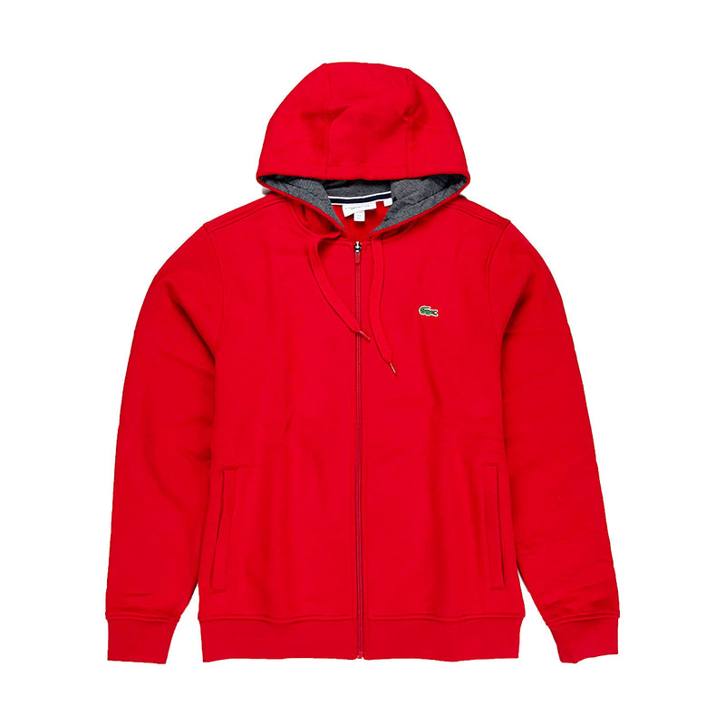 Lacoste Sport Hooded Fleece Tennis Sweatshirt Red