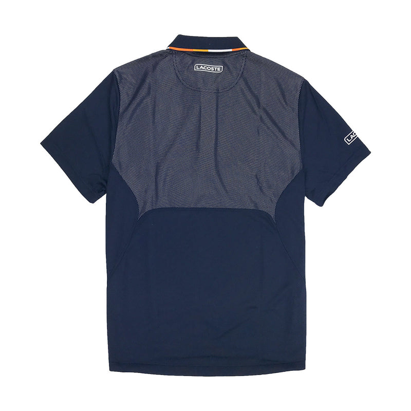 Lacoste Sport Piped Piqué Tennis Polo Navy Blue Back
