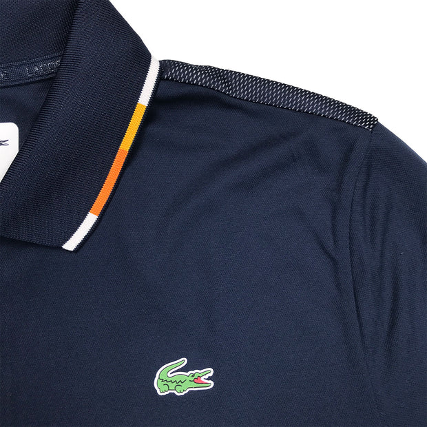 Lacoste Sport Piped Piqué Tennis Polo Navy Blue Piping
