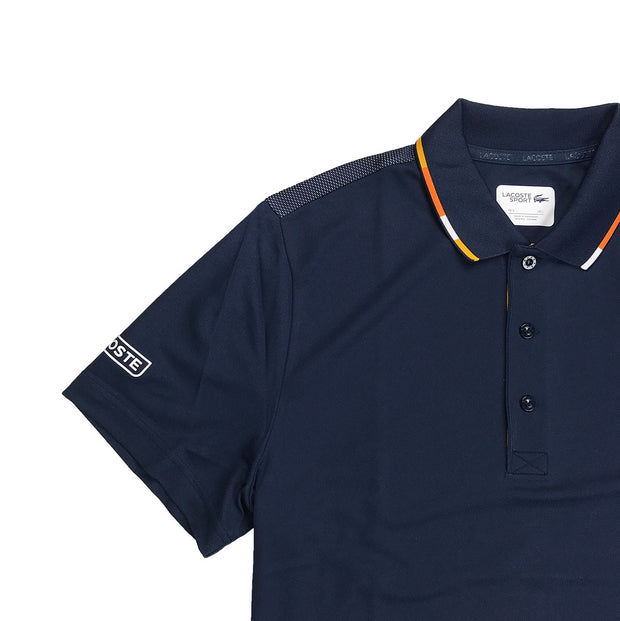 Lacoste Sport Piped Piqué Tennis Polo Navy Blue Upper Right