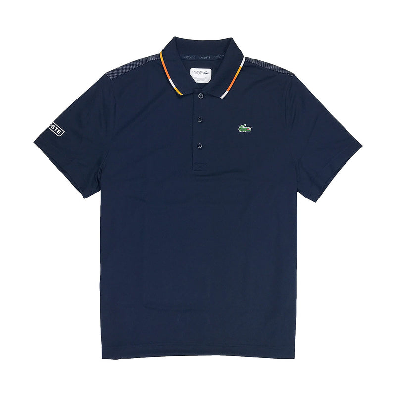 Lacoste Sport Piped Piqué Tennis Polo Navy Blue