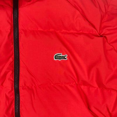 Lacoste Live Unisex Water Resistant Quilted Jacket Flash Red Crocodile