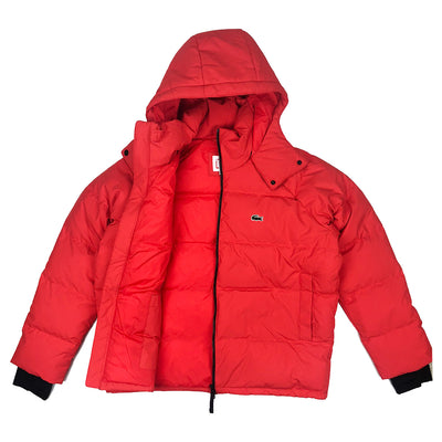 Lacoste Live Unisex Water Resistant Quilted Jacket Flash Red Opened