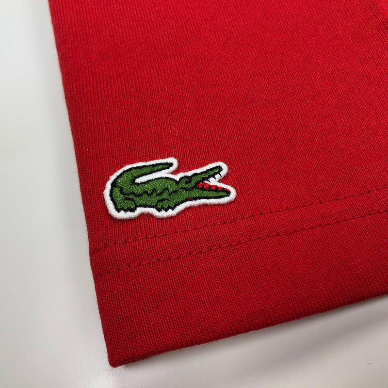 Lacoste Men's Disney Mickey Graphic Band Cotton Jersey T-Shirt Red / White Crocodile