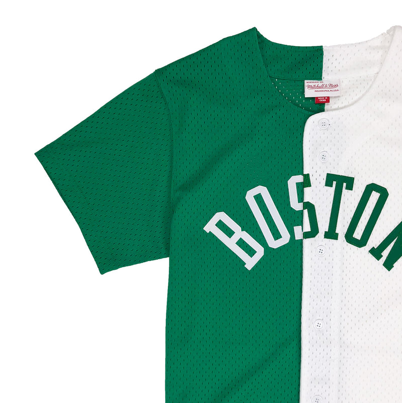 Mitchell & Ness Boston Celtics Split Baseball Jersey Green / White Neckline
