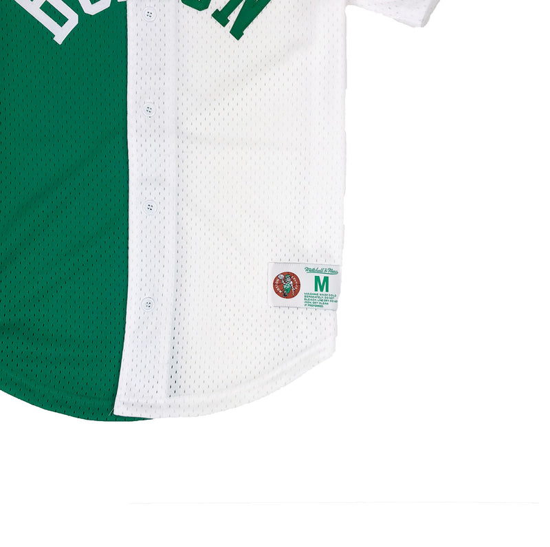 Mitchell & Ness Boston Celtics Split Baseball Jersey Green / White Tag