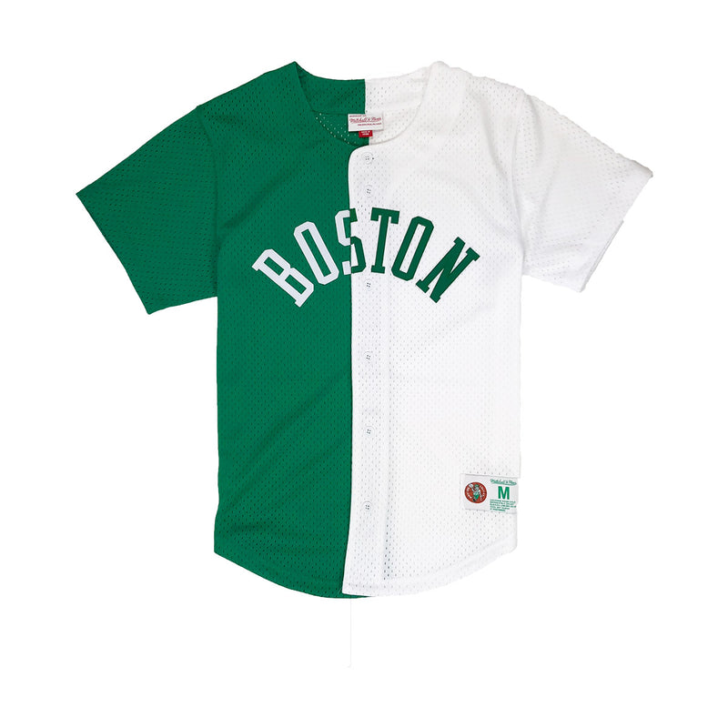 Mitchell & Ness Boston Celtics Split Baseball Jersey Green / White