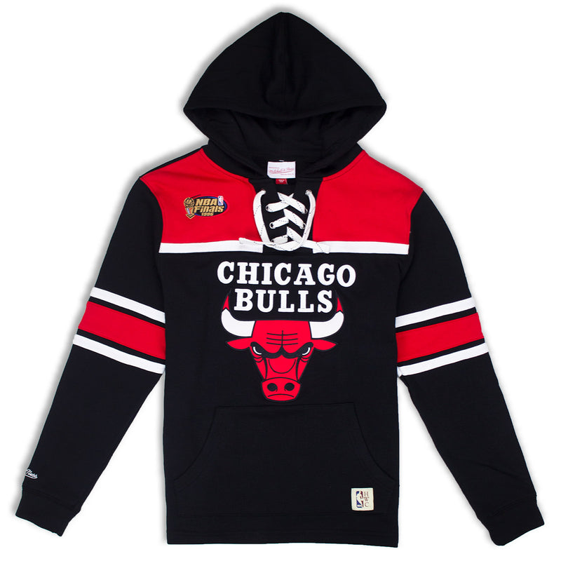 Mitchell & Ness Chicago Bulls Pullover Hockey Hoodie Black & Red