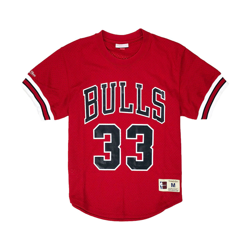 Mitchell & Ness Chicago Bulls Scottie Pippen Name & Number Mesh Crew Neck Red