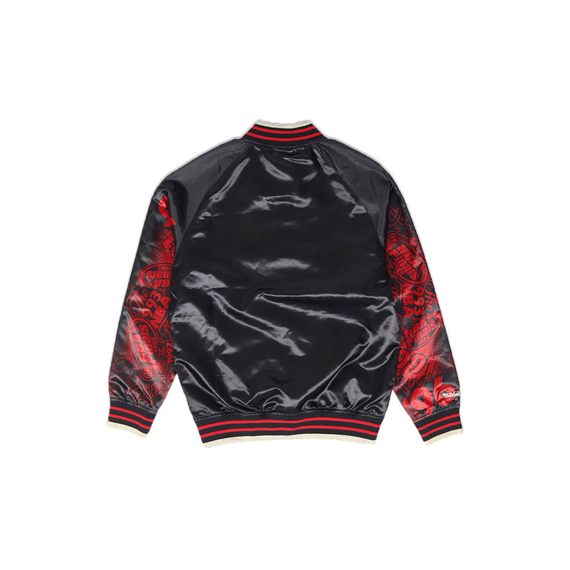 Mitchell & Ness Chicago Bulls Sublimated Baseball Jacket Black Back