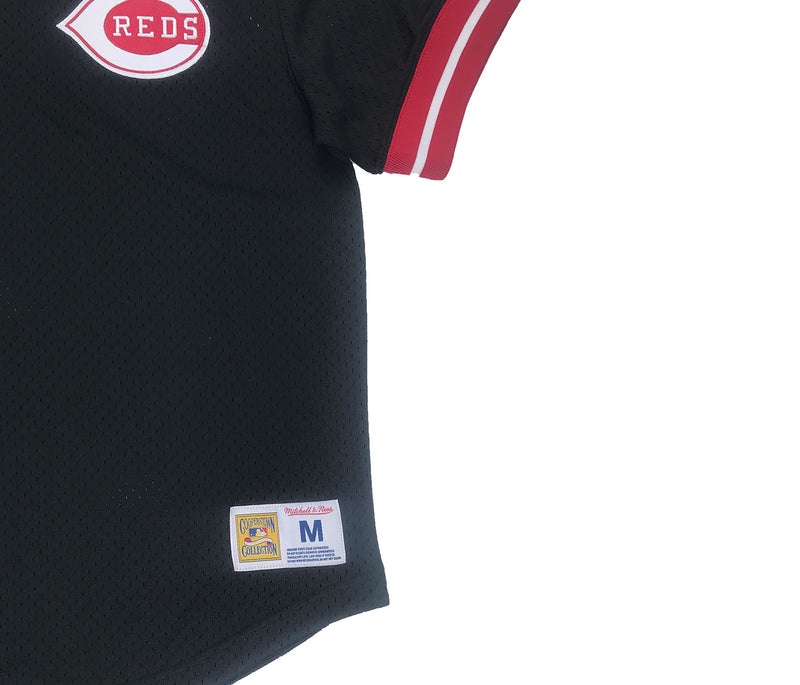 Mitchell & Ness Cincinnati Reds Mesh V-Neck Black Trademark