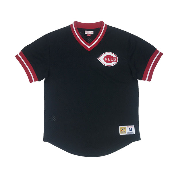 Mitchell & Ness Cincinnati Reds Mesh V-Neck Black