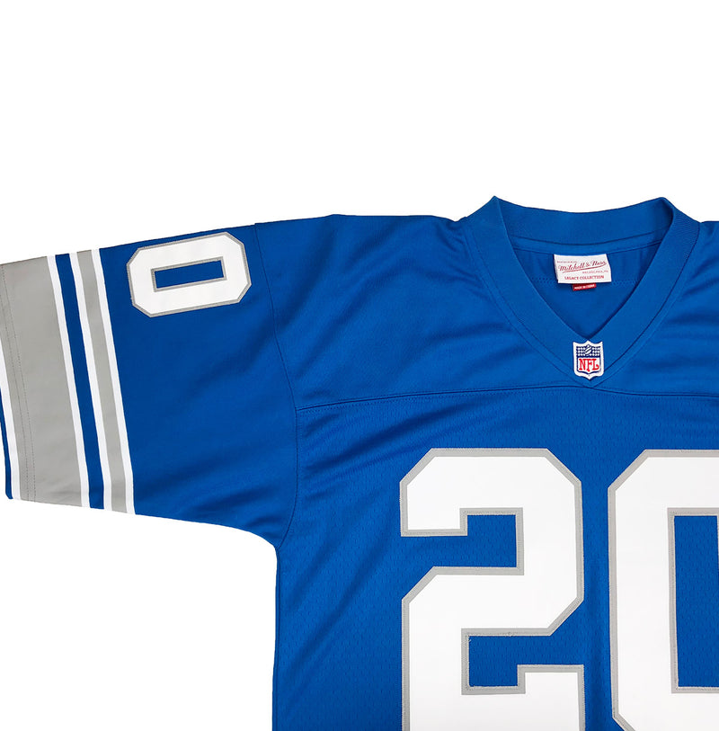Mitchell & Ness Detroit Lions Barry Sanders Throwback Jersey Blue Neckline