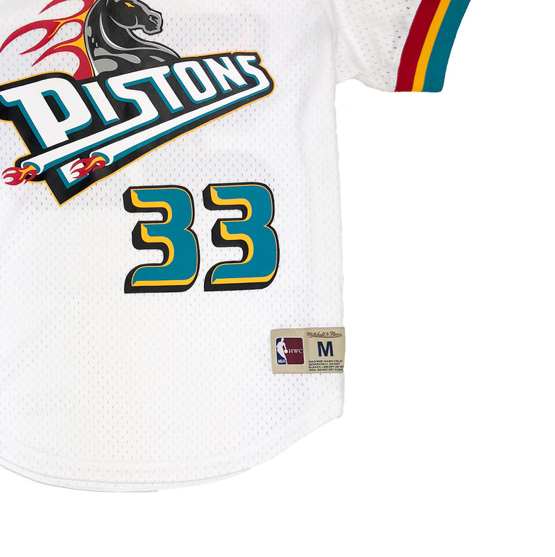 Mitchell & Ness Detroit Pistons Grant Hill Mesh Jersey White Trademark