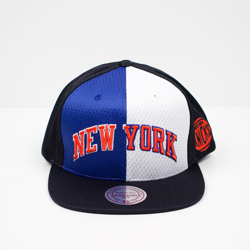 Mitchell & Ness New York Knicks Division Mesh Snapback Hat Blue / White Front
