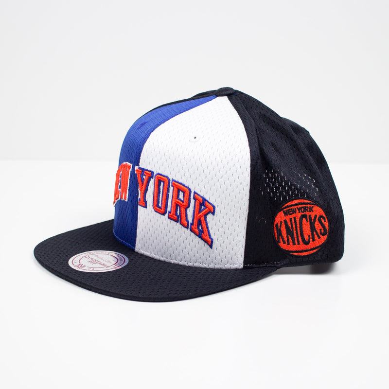 Mitchell & Ness New York Knicks Division Mesh Snapback Hat Blue / White Left