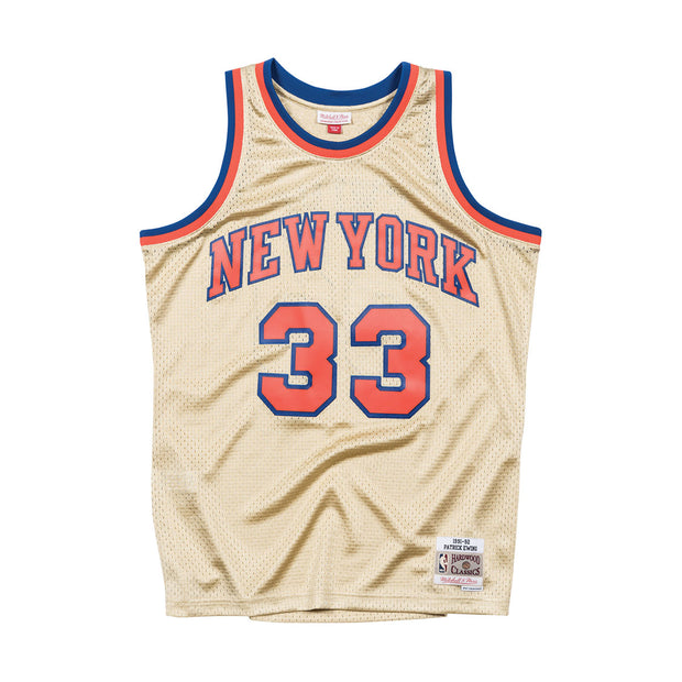 Mitchell & Ness New York Knicks Patrick Ewing Swingman Jersey Gold Front