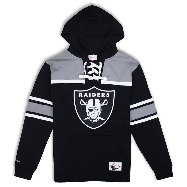Mitchell & Ness Oakland Raiders Pullover Hockey Fleece Hoodie Black & Silver
