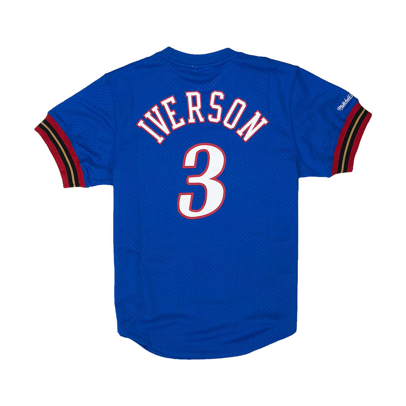 Mitchell & Ness Philadelphia 76ers Allen Iverson Name & Number Mesh Crew Neck Blue Back