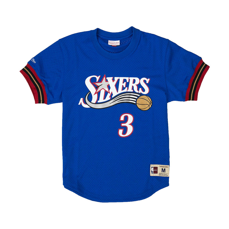 Mitchell & Ness Philadelphia 76ers Allen Iverson Name & Number Mesh Crew Neck Blue